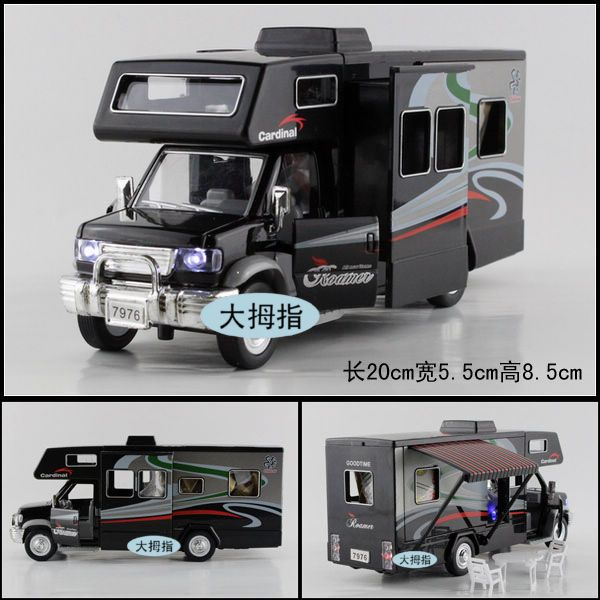 Sound and light alloy car models assembly toy rv travel luxury bus(China (Mainland))