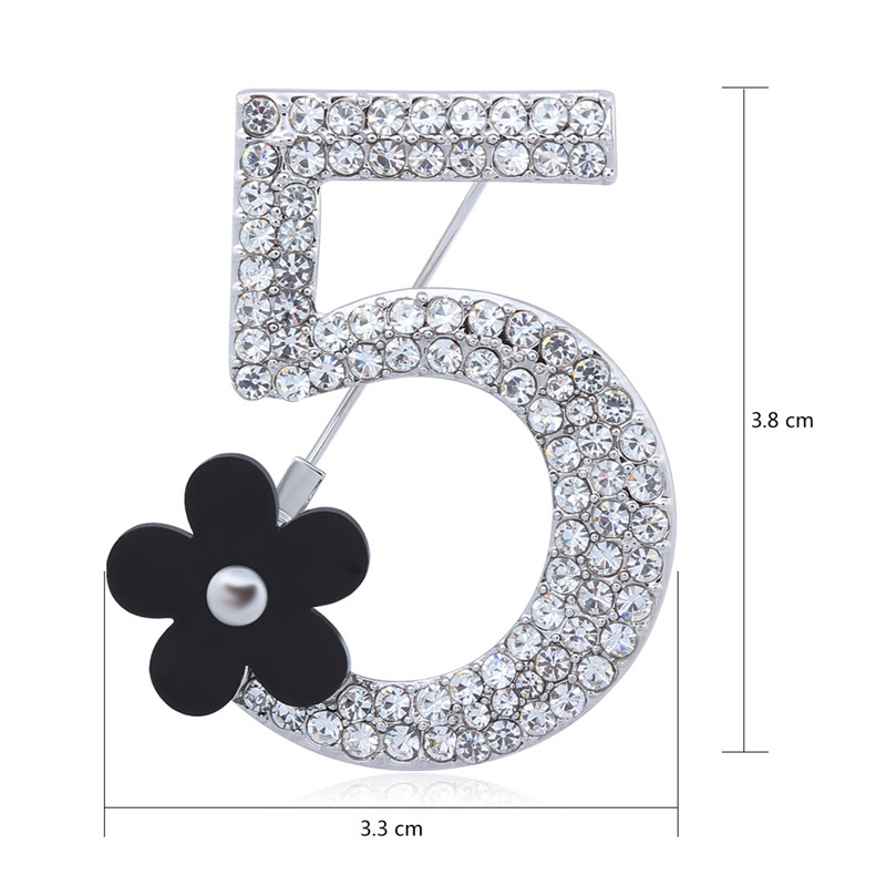 2016 New Brand Brooches Letter 5 Full Crystal Rhinestone Brooch Pins For Women Party Flower Number Brooches Jewelry (AS860023)