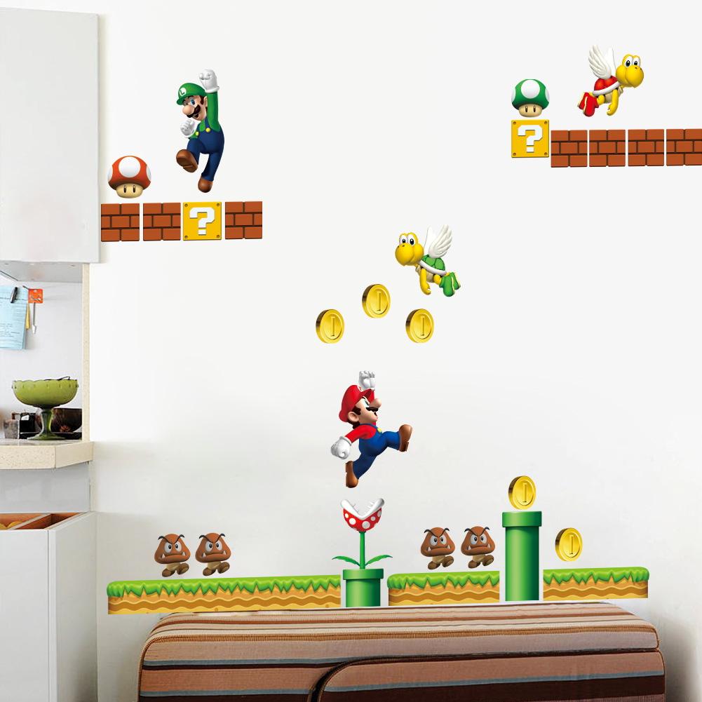 Classical game super mario wall stickers for kids room for Wall decals kids room