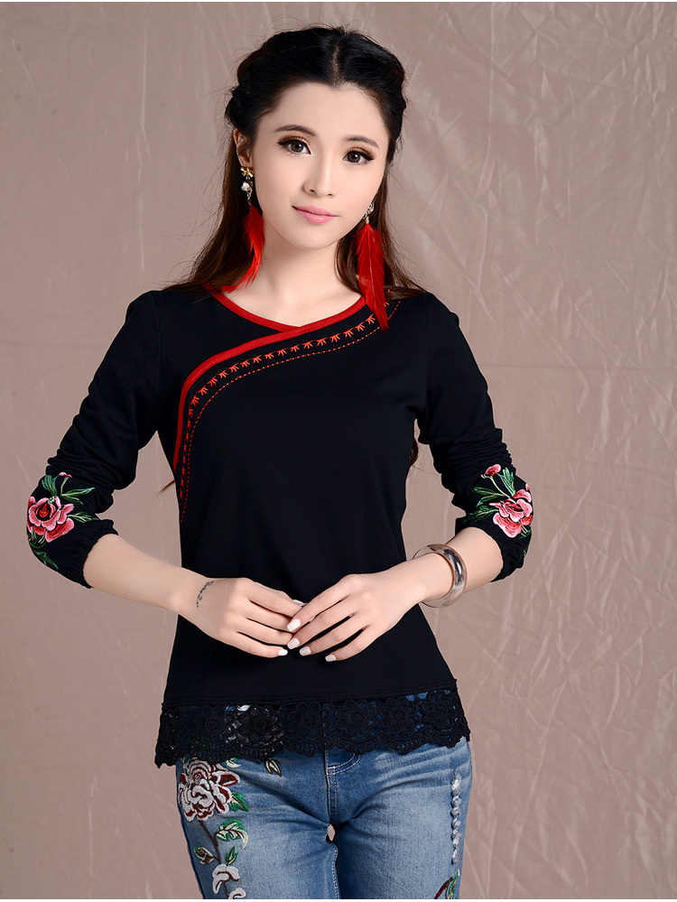 Women's autumn spring plus size clothing ethnic long-sleeve t-shirt 2017 ethnic lace embroidery shirt M L XL XXL pullovers