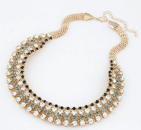 wholesale Exquisite fashion high quality crystal 14k gold chain handmade choker Necklace free shipping for mini $15 mix order(China (Mainland))