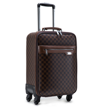 Hot Sale 2015 Guaranteed 100% Designer Luggage Road Bags Women Travel Bags Unisex Trolley Vintage Plaid PU Suitcase On Wheels(China (Mainland))
