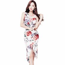 2017 Summer New Women Sleeveless Sexy Bodycon Vestidos Ladies Mesh Patchwork Wrinkled Printed Dress(China)