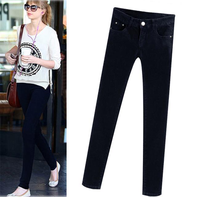 2016 новинка джинсы женщины карандашом среднего талии жан сексуальные тонкие эластичные ...