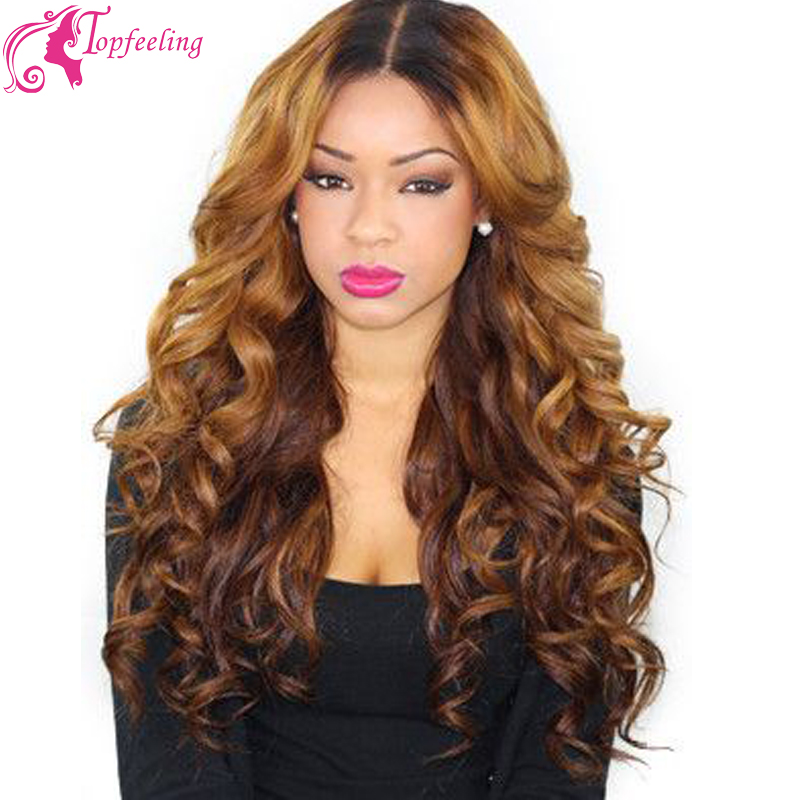 180% Heavy Density Ombre Full Lace Human Hair Wigs Glueless/Brazilian Lace Front Wigs Two Tone Lace Wig Middle Part FreeShipping