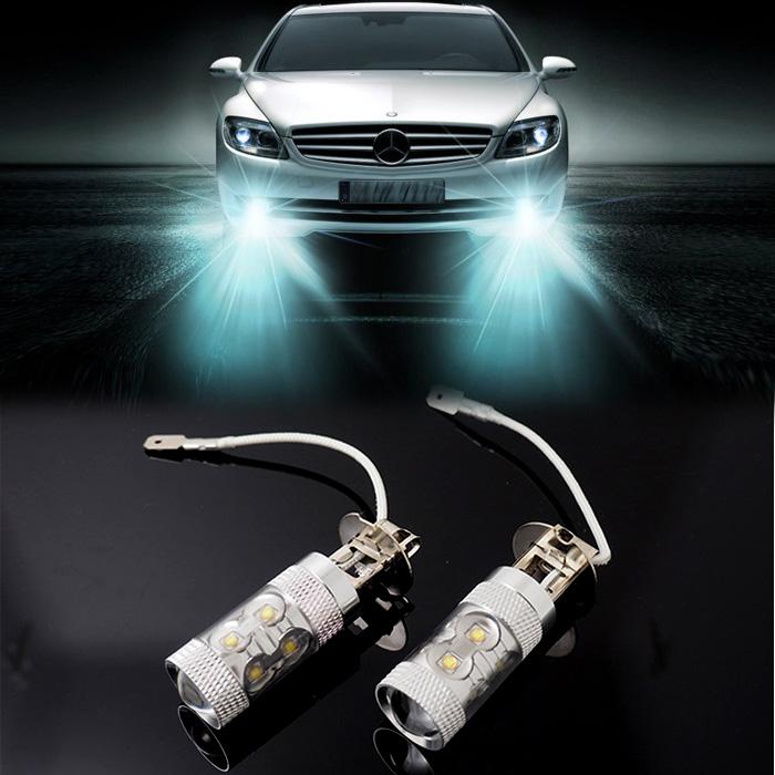 10 pieces/lot Xenon White H3 led 50W CREE LED 12V Car Driving DRL Fog Lamp Light Bulb car styling