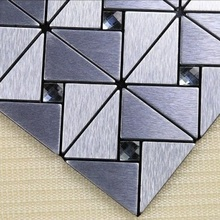 wholesale !! Hot sell Diamond mosaics triangle stainless mosaic tiles 3M glue adhesives wall tiles black & silver glass mosaic(China (Mainland))