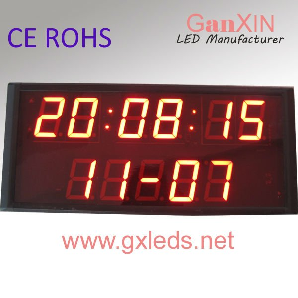 CE ROHS approved high brightness indoor digital prayer time clock 2 line led clock(China (Mainland))
