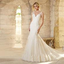 Buy Robe De Mariage Applique Long Mermaid Wedding Dress 2017 Cap Sleeve V-Neck Lace Bridal Dresses vestido de noiva for $176.00 in AliExpress store