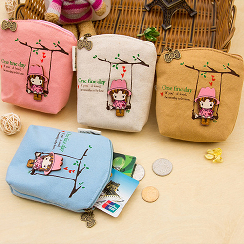 New Adorable Women Canvas Wallet Small Clutch Zip Card Coin Holder Purse Handbag <br><br>Aliexpress