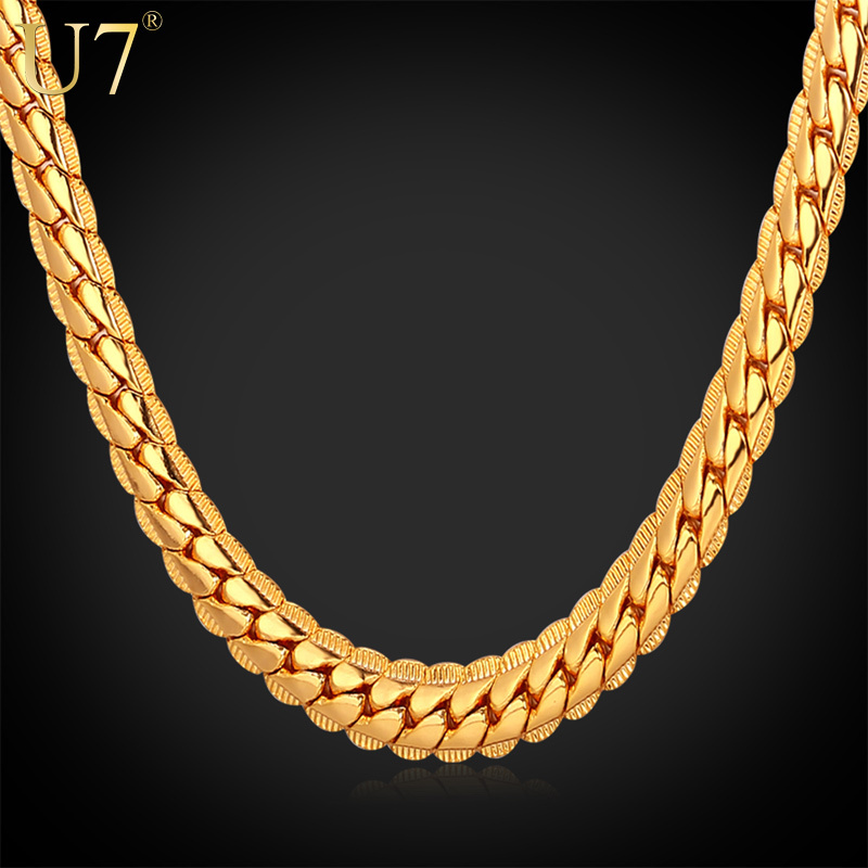 """18K Real Gold Plated Necklace With """"18K"""" Stamp Men Jewelry Wholesale New Trendy 3 Colors 6 MM Wide Snake Chain Necklace N308(China (Mainland))"""