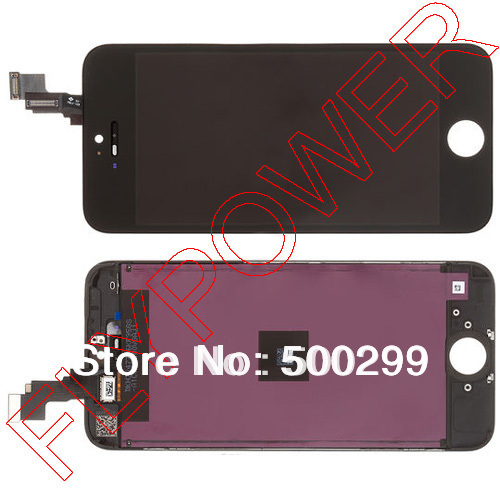 For iPhone 5s LCD Screen Display with Black Touch Screen Digitizer +frame Assembly by free DHL; 100% original; 5pcs/lot