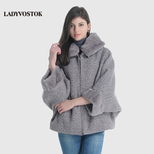 LADYVOSTOK Hooded Fur Collar Zipper Bat Sleeve Short Mink Fur Splice Women Winter Jacket Wool Coat Sheepskin Coat GY842(China (Mainland))