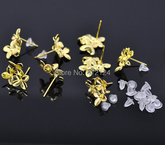 Wholesale Gold Plated Earring Posts With Rubber Stopper Flower Four Leaf Clover DIY Jewelry Making Findings 15x14mm 250Pcs/lt(China (Mainland))