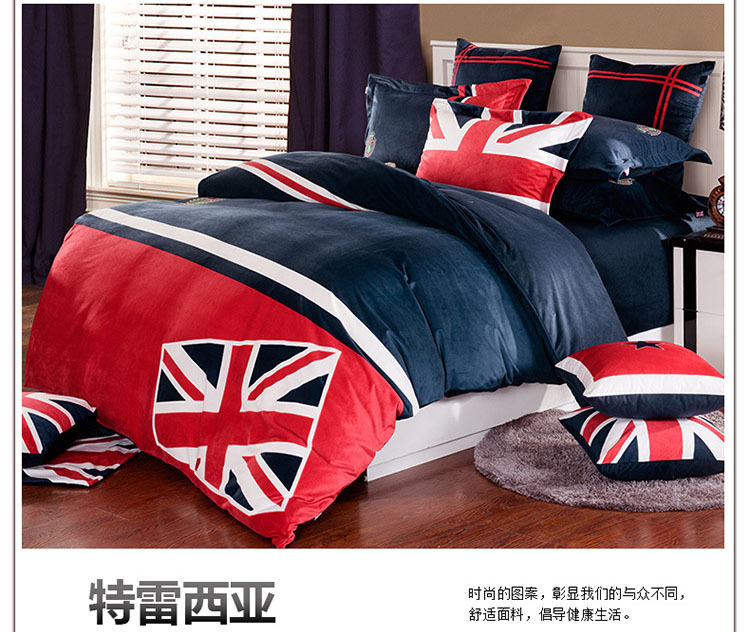 British fashion red blue bedding set UK flag duvet cover velour comforter cover bedsheet pillowcases Theresien bed cover 5114(China (Mainland))