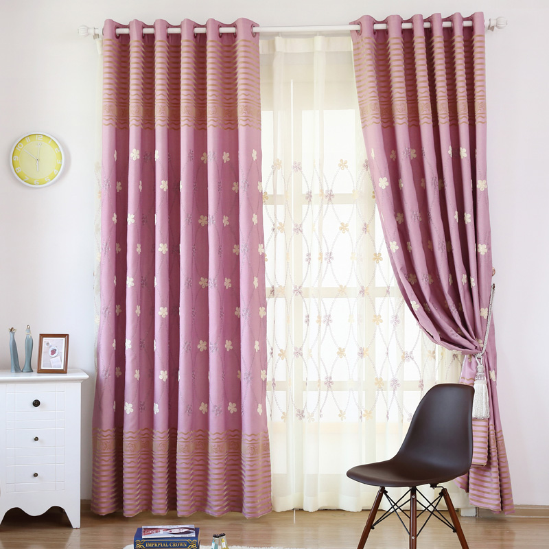 Insulated Drapes Purple Drapery Panels Embroidered Thread Curtain Blackout Swag Curtains Flowers Window Panels Rustic BlindS(China (Mainland))