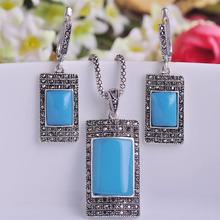 Площадь ожерелье серьги старинное серебро турецкую ювелирные комплект для женщин платья принцессы крючки Pendientes Colar(China (Mainland))