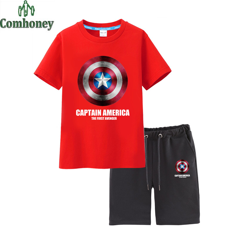 Kids Tracksuits Captain America Child Football Tracksuit Baby Football Clothing Breathable Boys Clothes Twinset Kids Sports Suit(China (Mainland))