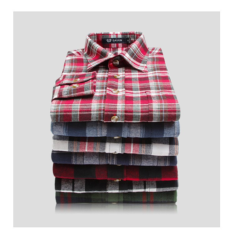 Men's Long Sleeve Plaid Shirts Flannel sixty six