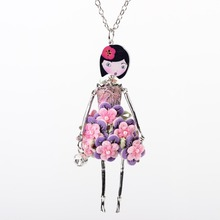 Neway doll necklace dress trendy new pendant 2015 acrylic alloy cute girl women red flower figure