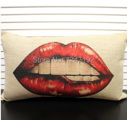 Retro creative cotton pillow lips car waist pillow 3D visual dear skin waist by quality Ppmian nostalgia 30X50CM(China (Mainland))