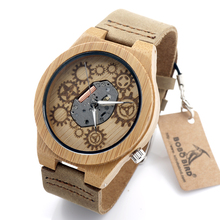 Newest BOBO BIRD B09 Nature Bamboo Watch Clear Visible Quartz Movement Watches Cool Wood Engrave Mens Watches with Leather Band(China (Mainland))