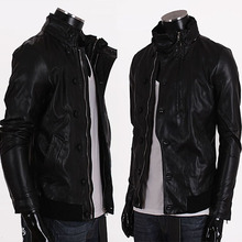 2015 spring male stand collar motorcycle leather clothing button leather jacket fashion slim outerwear black(China (Mainland))
