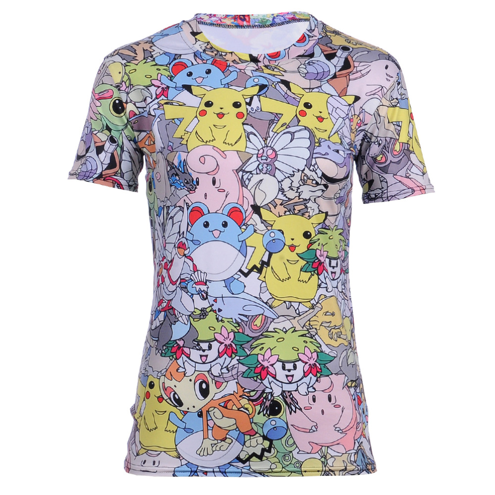High Quality Dragon Pokemon Women's Tshirt Vibrant Cartoon KAWAI IP IK A Department T-shirt Summer Fitness Tee Tops Shirts(China (Mainland))