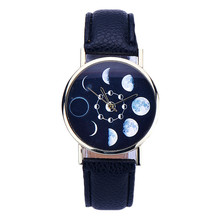 2016 Attractive Women Lunar Moon Eclipse Pattern Leather Analog Quartz Wrist Watch Elegant Women Watch Girl Watch RV