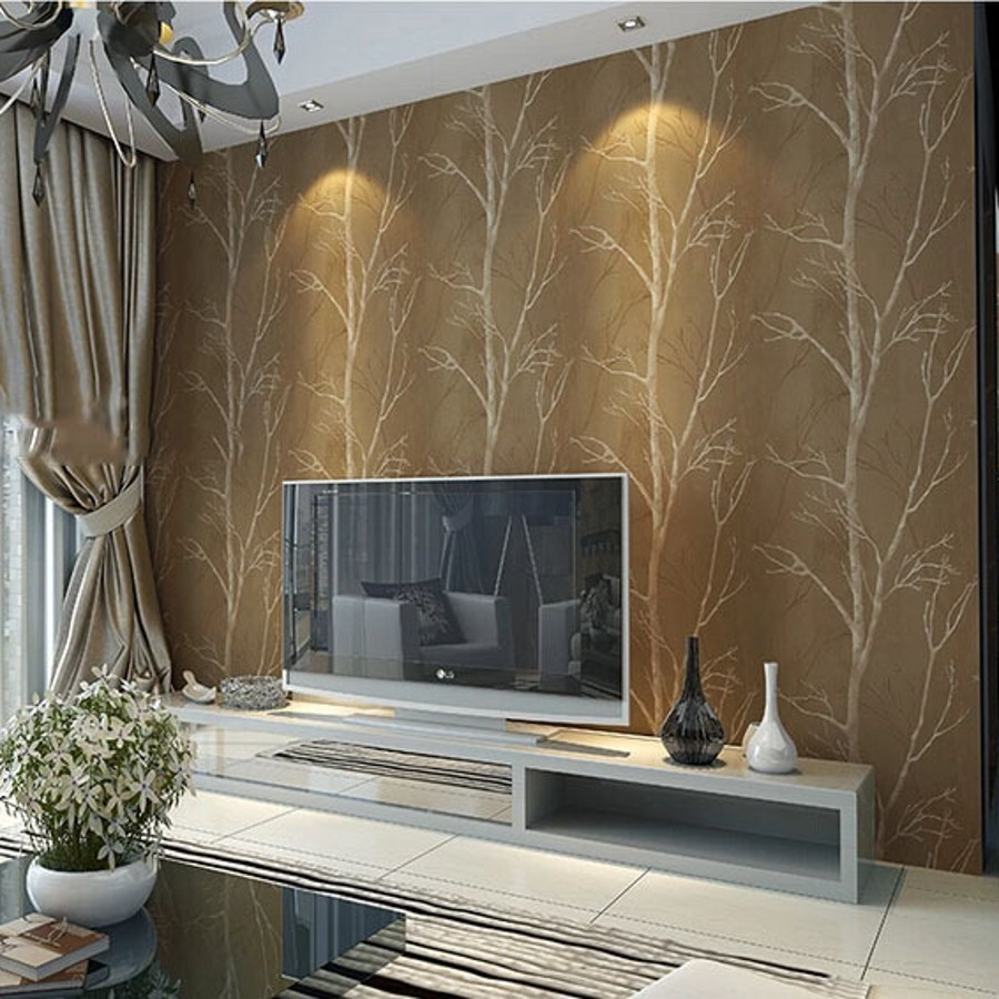 Natural design tree forest textured wallpaper roll for Wallpaper on walls home decor furnishings