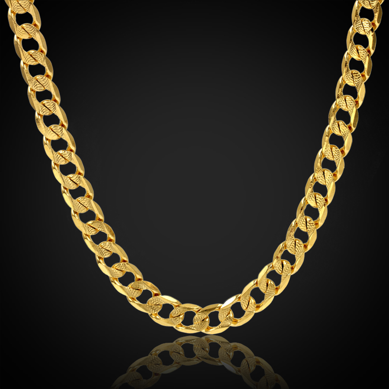 11mm Brand New Trendy Mens Gold Chain Necklace, Embossing Gothic Fashion Long Necklace Wholesale 18K Gold Plated Big Men Jewelry(China (Mainland))