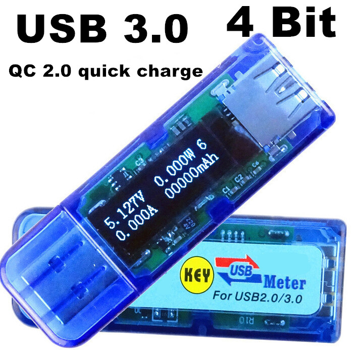 50pcs USB 3.0  charge White 4 bit OLED detector voltmeter ammeter power capacity tester meter voltage current usb power bank<br><br>Aliexpress