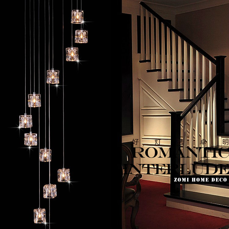 Fashion ice crystal G4 20w lamp beads 12 - head vertical stairwell chandelier for the dining room light duplex villas restaurant(China (Mainland))
