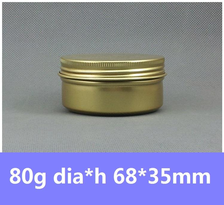 10 Golden Aluminum Container 80g Cosmetics packaging Metal Bottle Jar 80ml Cream Cans Round Tin - Glitpack International Co.,Ltd store