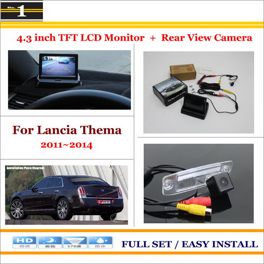 """Auto Back UP Reverse Camera + 4.3"""" Color LCD Monitor = 2 in 1 Rearview Parking System - For Lancia Thema 2011~2014(China (Mainland))"""