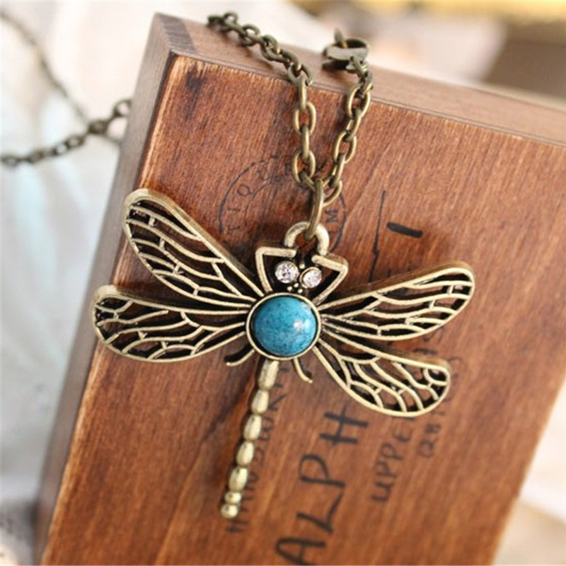 2016 New Vintage Jewelry Retro Hollow Dragonfly Korean Long Paragraph Sweater Chain Pendant Necklace Women x5