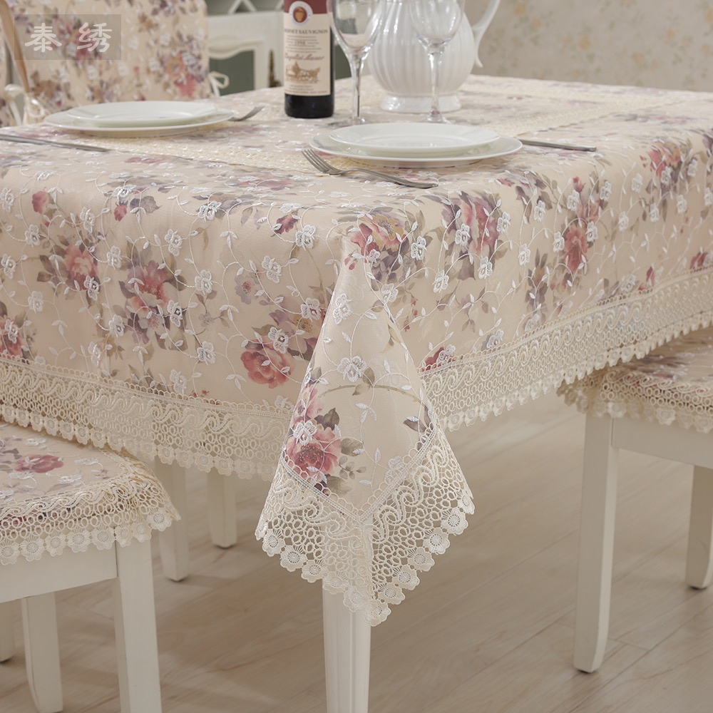 Beige laciness coffee table cloth lace tablecloth dining table cloth fabric table cloth cushion Coffee table tablecloth