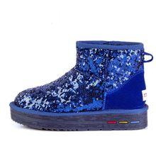 2016 de La Moda de Alta Botas de Nieve de Las Mujeres Zapatos de Cuero Genuino Slip-On Botines de Piel Natural de Lana Caliente Botas de Invierno(China (Mainland))