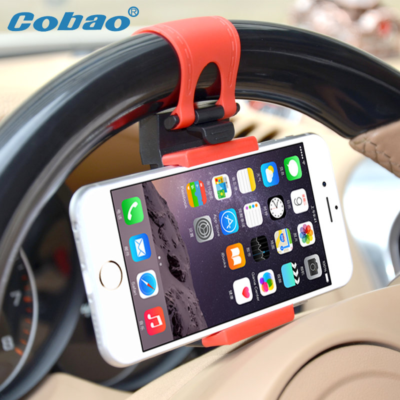 Universal car steering wheel mobile phone holder Cobao mobile bracket for iphone 4 4s 5 5s 6 6s holder for your phone in car(China (Mainland))