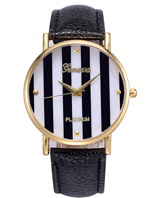 2Geneva Platinum Stripes wristwatch women Ladies Casual korean pop style Quartz watch new multicolor  -  Sonia's store