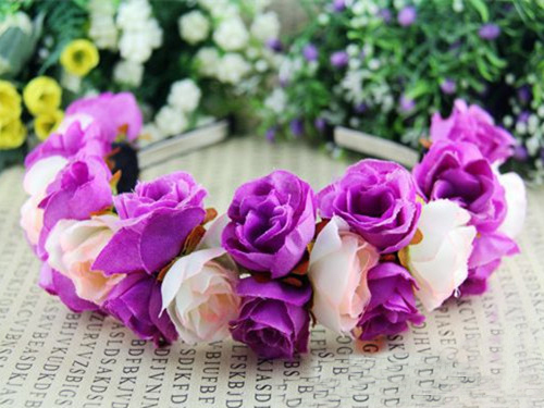 Freeshipping Bohemia Floral Hair Hoop Rose Flower Crown Headbands for Women Wedding Festival Double Row Floral Garland Hairbands(China (Mainland))