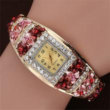 Geneva Women Rhinestone Bangle Watches Alloy Flower Plated Watches Retro Crystal Jewelry Female Watch Free Shipping AN990