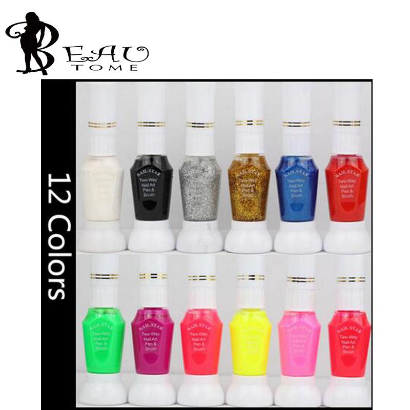 Beautome Nail Art Stripper Pen 12Colors 2 -Way Nail Polish Glitter Canetinhas Coloridas Nail Brush Set For Nail Art Decorations(China (Mainland))