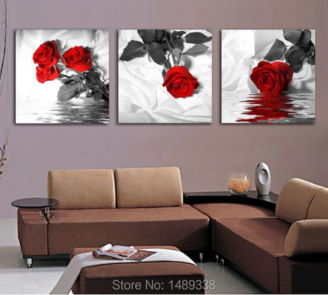 3 Piece red Rose Home Decorative Canvas Painting Living Room Paint Wall Hanging Art Picture Prints T/366 - Dafen art store