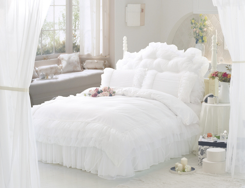 white ruffle lace princess bedding comforter set full queen size duvet cover quilt bed linen. Black Bedroom Furniture Sets. Home Design Ideas