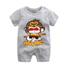 2019 Mùa Hè Mới Phong Cách Ngắn Tay Cô Gái Ăn Mặc Bé Romper Bông Cơ Thể Trẻ Sơ Sinh Phù Hợp Với Bé Pajama Trai Động Vật Khỉ Rompers(China)