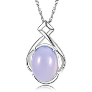 Natural Blue Chalcedony Necklace 925 Sterling Silver Vintage Jewelry Free Shipping