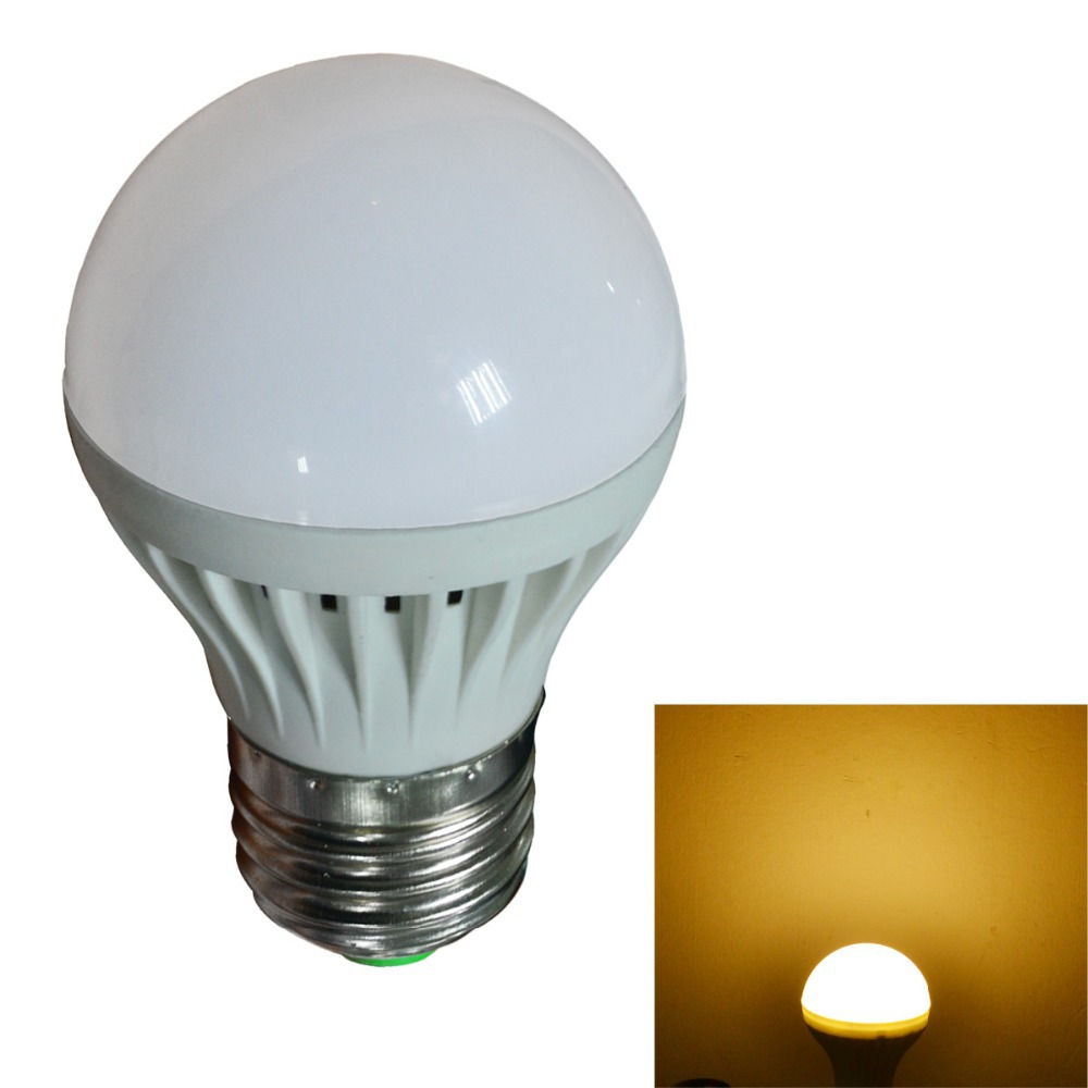 2pcs/lot, 3W E27 LED Bulb PC Material High Power Low Consumption Long Using Life Sphere Bulb Light(China (Mainland))