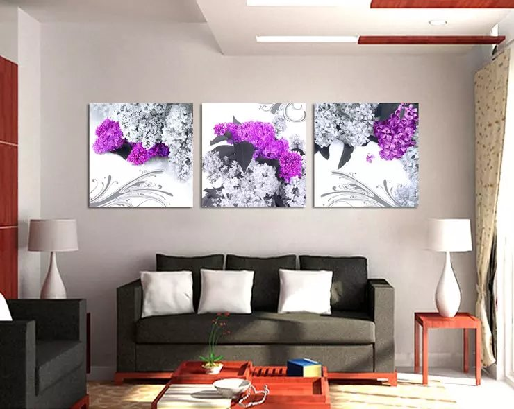 Unframed 3 Pcs Canvas Painting Purple Living Room Flower Art Picture Home Decor On Canvas Modern Wall Prints Artworks G028(China (Mainland))