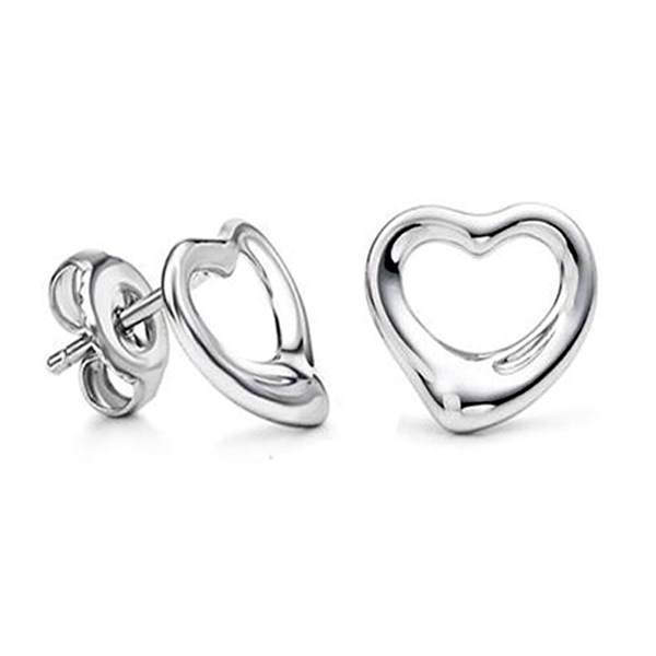 Brincos Pequenos Cute Heart Silver Plated bijoux Women Stud Earring christmas jewelry earrings ED2509(China (Mainland))